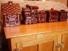 Hull Pottery Brown Drip Gingerbread Man Train and Depot Canister Cookie Jar set