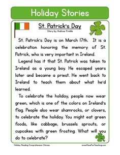 This Reading Comprehension Worksheet - St. Patrick's Day is for teaching reading comprehension. Use this reading comprehension story to teach reading comprehension.