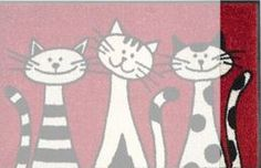 Wash Dry 030812 Door Mat 50 x 75 cm with Three Cats Motif Cat Quilt, Cat Cards, Cat Drawing, Cat Design, Whimsical Art, Fabric Painting, Rock Art, Doodle Art, Easy Drawings