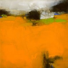 roger lane abstract landscape orange draws the eye in and then up to the darker values and one little spot of blue (complimentary to the orange) #FredericClad