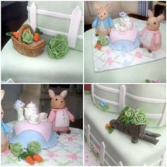 beatrix potter peter rabbit baby shower dessert table fondant cake characters