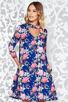 StarShinerS blue elegant flared sleeve dress soft fabric with floral print October 19, Product Label, Soft Fabrics, Floral Prints, Vibrant, Dresses With Sleeves, Buttons, Elegant