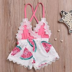 Infant Baby Girls Romper Watermelon Print Lace Strap Jumpsuit Outfits Clothes You are in the right p Newborn Fashion, Newborn Outfits, Toddler Fashion, Toddler Outfits, Girl Fashion, Girl Outfits, Style Fashion, Fashion Outfits, Baby Girls
