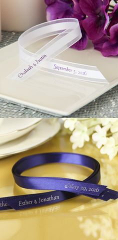 Wrap up your wedding favors with the perfect personalized wedding ribbon! Perfect as a personal detail to a small treat or to tie up a box of goodies.