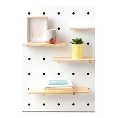 Pegboard with Wooden Shelves