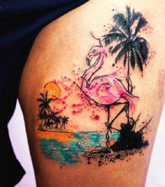 A flamingo on a beach tattoo. An interesting looking beach tattoo design as the flamingo is seen to be dancing along the shore of a beach. The horizon looks as beautiful as the sun looks over it.
