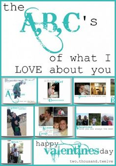 Such a CLEVER gift for Valentine's or anniversaries! Make an ABC's of what I love about you book! From Somewhat Simple