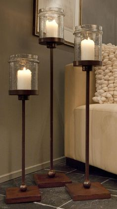 Floor Candle Holders | Dessau Home Bronze Iron Floor Candleholder with Hammered Jar Globe