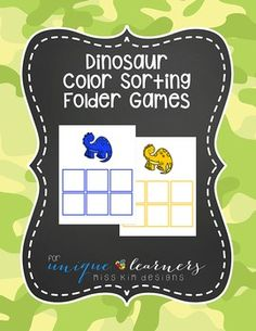 Ready to start sorting with your students? Here's an easy way to get them started! Designed for 3-5 year old children, this simple sorting task asks students to sort by color using dinosaurs. The file folder game even has boxes in the appropriate size and color to help guide learning.