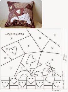 Entretelas et patchwork: Coussin, Cat Quilt Patterns, Patchwork Patterns, Patchwork Quilting, Applique Patterns, Sewing Appliques, Loom Patterns, Patchwork Cushion, Quilted Pillow, Sewing Pillows