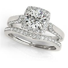 Allurez Diamond Accented Square Halo Ring & Band Bridal Set 14k W. ($3,920) ❤ liked on Polyvore featuring jewelry, rings, wedding, wedding ring, white gold, gold wedding rings, round wedding rings, gold rings, wedding rings and gold engagement rings