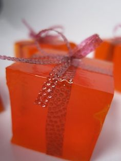 Gift shaped jello shots as a wedding favor (just make sure to have some virgin ones in a different color available for the kids)