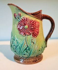 Circa 1880's Antique Majolica Cream Pitcher 'Red Poppy'