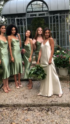 Silk Bridesmaid Dresses, Satin Dresses, Green Satin Dress, Sage Green Dress, Silk Formal Dress, Dress Lace, Wedding Goals, Wedding Day, Boho Wedding
