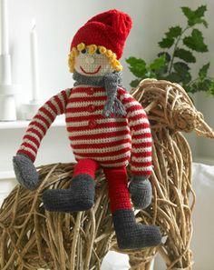 Herman er en robust, stor nisse, som tåler at blive tumlet med af de mindste Xmas, Christmas Ornaments, Crochet Toys, Winter Hats, Journal, Holiday Decor, Crocheting, Bricolage, Tricot