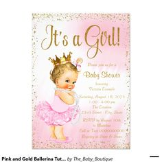 Pink and Gold Ballerina Tutu Pearl Baby Shower 4.5x6.25 Paper Invitation Card