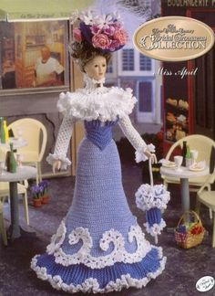 1995 Annie's Calendar Bed Doll Society The Turn of the Century Bridal Collection Troussseau April   Fashion Doll Crochet Pattern