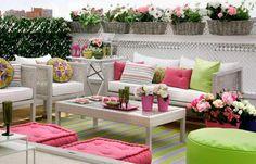 colorful patio ideas, white wicker furniture and colorful accessories White Wicker Furniture, Outdoor Furniture Sets, Furniture Ideas, Outdoor Rooms, Outdoor Living, Outdoor Decor, Outdoor Seating, Outdoor Ideas, Urban Balcony