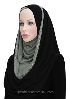 Hoodie Hijab 2 Tone Easy Instant Headscarf  Available in 6 Colors