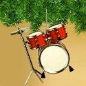 """Red drum set Christmas tree ornament. Size: 6.5"""" x 3"""" x 1.5""""."""