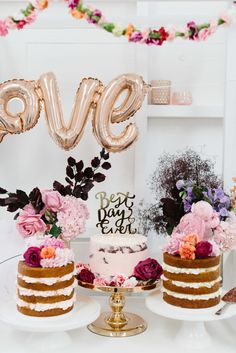 cake cart with gold LOVE balloons