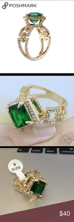 NWOTGORGEOUS YGP Green CZ Ring  Beautiful sparkly ring! Perfect for a night out. Yellow Gold Plated. Express Jewelry Jewelry Rings