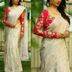 Looking for latest full sleeve blouse designs for silk sarees ? check out 11 pretty inspiring blouse ideas and patterns to look great on this combination. Trendy Sarees, Fancy Sarees, Party Wear Sarees, Kerala Saree Blouse Designs, Saree Blouse Patterns, Cotton Saree Blouse Designs, Blouse Back Neck Designs, South Silk Sarees, Lace Saree
