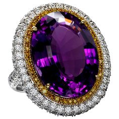 Spectacular Amethyst Canary Diamond Gold Cocktail Ring