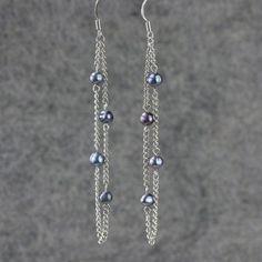 Black pearl linear long chain earrings handmade