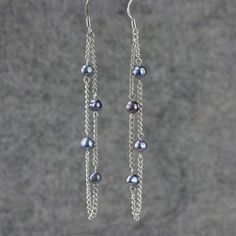 Black pearl linear long chain earrings handmade
