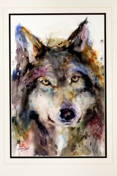 WOLF Original Watercolor Painting By Dean by DeanCrouserArt