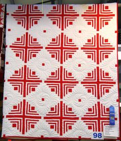 """1906""  Red and White Blue Ribbon WA State Fair by Lisa Martin. Quilted by Starlit Quilts."