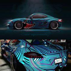 ・・・ The GlowRess wide-bodied Porsche Cayman. Custom design printed on Arlon reflective vinyl ————————- The amount of… Racing Car Design, Bike Design, Porsche, Drifting Cars, Wide Body, Car Painting, Car Wrap, Car Detailing, Amazing Cars