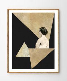 Mirage - Art Deco, Mixed Media Collage Art, Vintage Photo Woman, Geometric Print, Geometry, Vintage Art, Minimalist Art, Home Decor