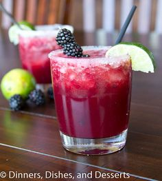 Skinny Blackberry Margarita recipe at Dinners, Dishes and Desserts