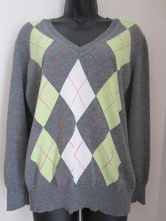 Canda Sweater L Large Gray Argyle V Neck LS #Canda #VNeck