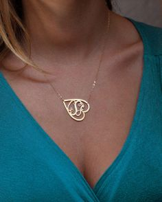 Gold Monogram, Gold Initial Necklace, Gold Letter  from Capucinne by DaWanda.com