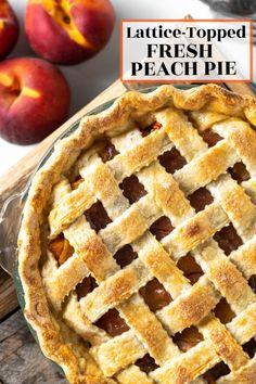 Fun Easy Recipes, Summer Recipes, Holiday Recipes, Fresh Peach Pie, Peach Pie Recipes, Strawberry Rhubarb Pie, Good Pie, Best Pie, Chocolate Pies