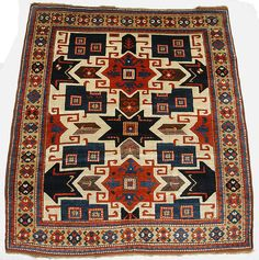 Star Kazak Carpet - Date: early 19th century, South Caucasus, Kazak, Islamic, Wool (warp, weft, and pile); symmetrically knotted pile, Dimensions: L. 74 in. (187.96) W. 64.00 in. (162.56 cm)