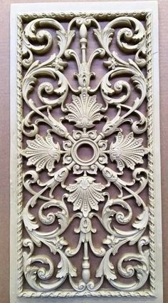 We manufacture 15 of our French grilles for a Texas client. This grille is x Shabby, Wood Carving Designs, Ornaments Design, Ceiling Medallions, Ceiling Design, Door Design, Wood Art, Diy And Crafts, Wall Decor