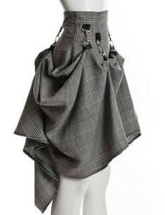 High Waist Victorian Plaid Steam Punk Skirt - PINaRERIS - Midi Skirts