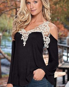 Hollow lace off the shoulder tops for women sexy v neck t shirt XXXL