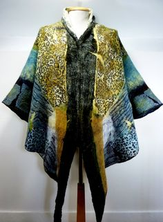 Hand Made to Order: Metamorphosis hand felted reversible nuno felt wrap / cape