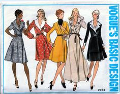Vogue 2764 Vintage Wrap Around Dress Pattern - Suitable for knits Vintage Vogue, Moda Vintage, Vintage 70s, Vintage Ideas, Vintage Style, Queer Fashion, 70s Fashion, Fashion Outfits, Vintage Fashion