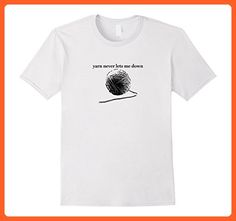 Mens Funny Knitting and Crochet T-Shirt Yarn Never Lets Me Down  Large White - Funny shirts (*Partner-Link)