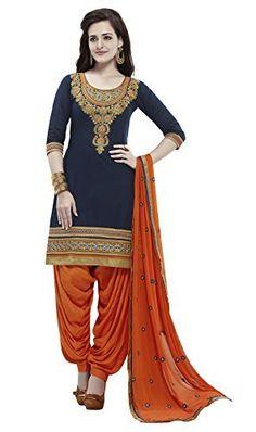 KVSFAB Women's Cotton Patiala Salwar Suit,Navy blue & Orange[3955Jodha-3]