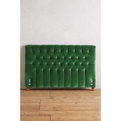 Anthropologie Velvet Tufted Lena Headboard (1,150 CAD) ❤ liked on Polyvore featuring home, furniture, beds, green, velvet tufted bed, low headboard, anthropologie, hollywood regency furniture and tufted head board