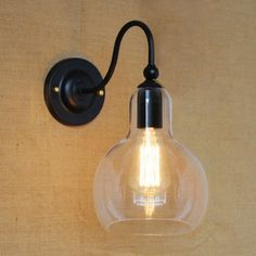 12'' H Matte Black Single Light Wall Lamp with Clear Glass Shade