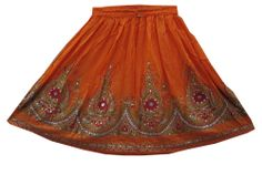 Mini Sequin Skirts Rayon Orange Lehenga Print Women;s Fashion Skirts