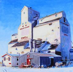 Acrylic, 36x36 inches, 2021 The elevator at Consul, Saskatchewan is kind of kind an exclamation point at the end of the road in this part of prairie. It frames the road for miles ahead and glitters in the winter prairie sun Elevator, Glitters, Vancouver, Wolf, Frames, Sun, Gallery, Winter, Painting